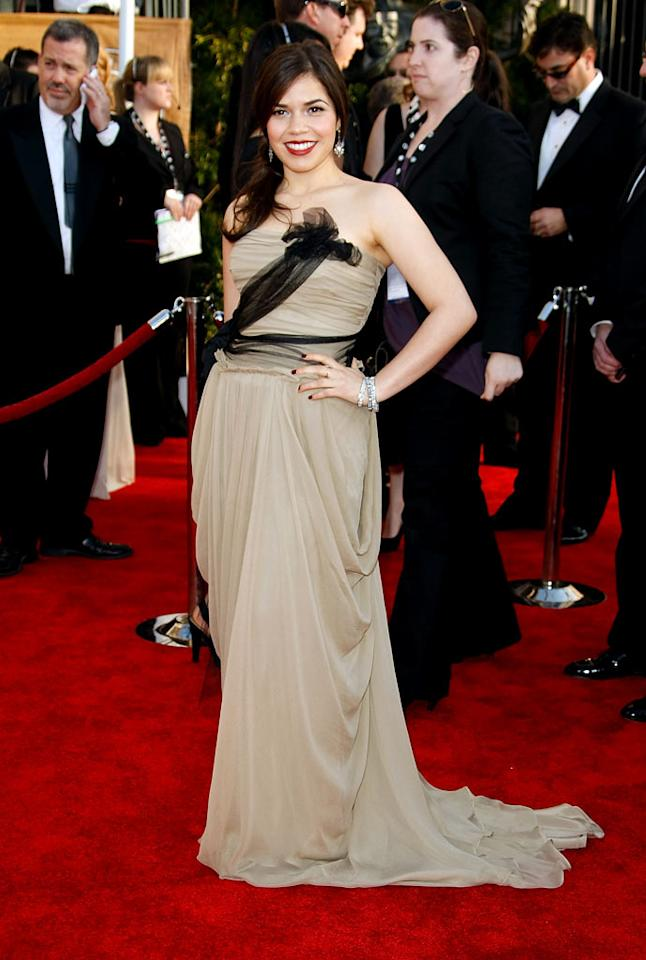 "<a href=""/america-ferrera/contributor/1126510"">America Ferrera</a> arrives at the <a href=""/the-15th-annual-screen-actors-guild-awards/show/44244"">15th Annual Screen Actors Guild Awards</a> held at the Shrine Auditorium on January 25, 2009 in Los Angeles, California."