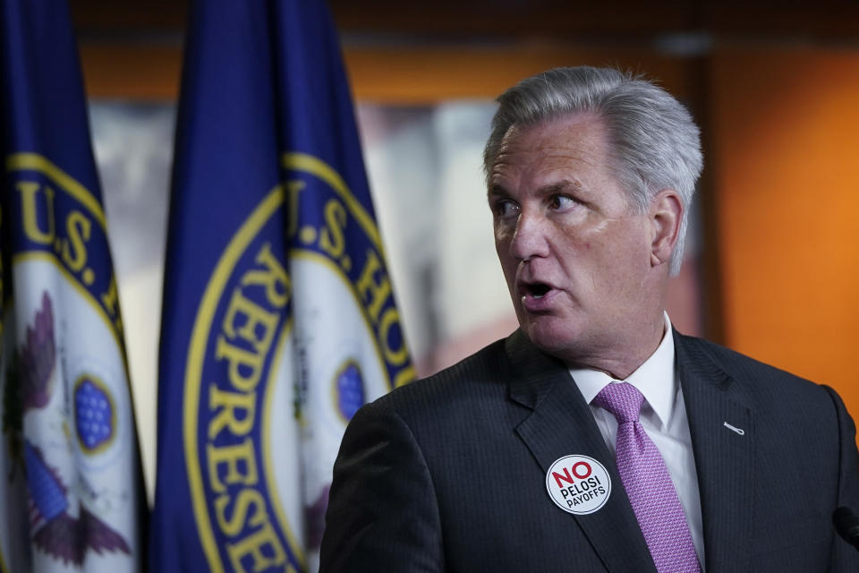 House Minority Leader Kevin McCarthy (R-CA) speaks during his weekly news conference on Capitol Hill. (Photo by Drew Angerer/Getty Images)