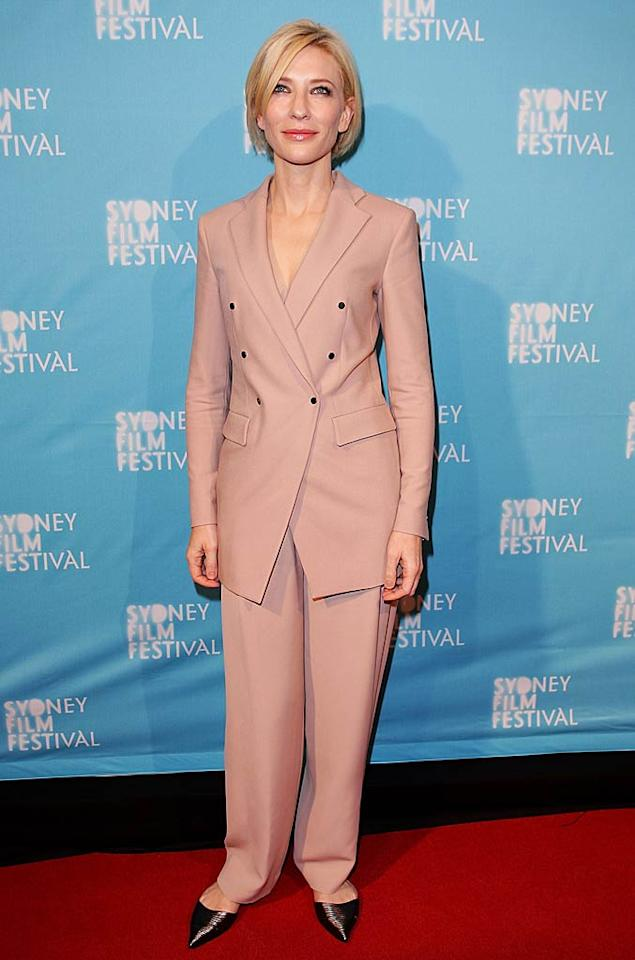 "Cate Blanchett wore this baggy, double-breasted Armani pantsuit to the Sydney Film Festival premiere of ""Hanna."" The movie: B. Her look: D. Lisa Maree Williams/<a href=""http://www.gettyimages.com/"" target=""new"">GettyImages.com</a> - June 8, 2011"
