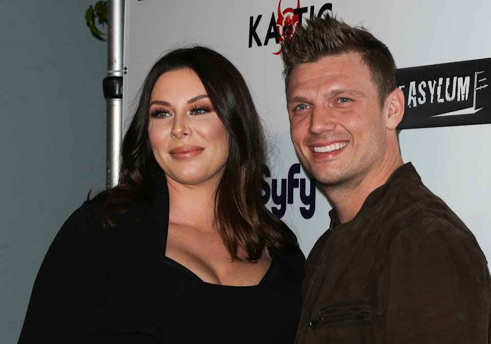 "Lauren Kitt (L) and Singer Nick Carter (R) attend the premiere of Syfy's ""Dead 7"" at Harmony Gold on April 1, 2016 in Los Angeles, California.  (Photo by Paul Archuleta/FilmMagic)"