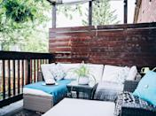 <p>Take a cue from your home's interiors, and place a comfortable sectional on your balcony. Light-colored upholstery can keep the space from feeling cluttered. </p>