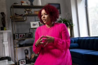FILE - In this July 6, 2021, file photo Nikole Hannah-Jones is interviewed at her home in the Brooklyn borough of New York. Hannah-Jones opted against teaching at the University of North Carolina after a protracted tenure fight centered on conservative objections to her work and instead chose Howard University, where she will hold the Knight Chair in Race and Journalism. (AP Photo/John Minchillo, File)