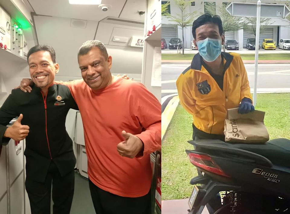 Azrul pictured with AirAsia boss Tan Sri Tony Fernandes (left pic) and in his new role as a delivery rider. — Pictures courtesy of Azrul Hizzat Marzuki