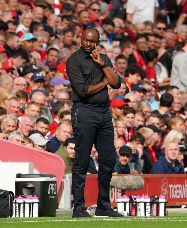 Crystal Palace manager Patrick Vieira looks frustrated on the touchline