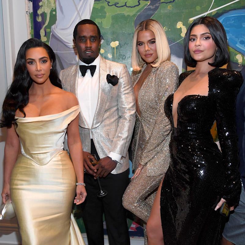 Kim Kardashian West, Diddy, Khloe Kardashian and Kyle Jenner pose for a group photo at the party.