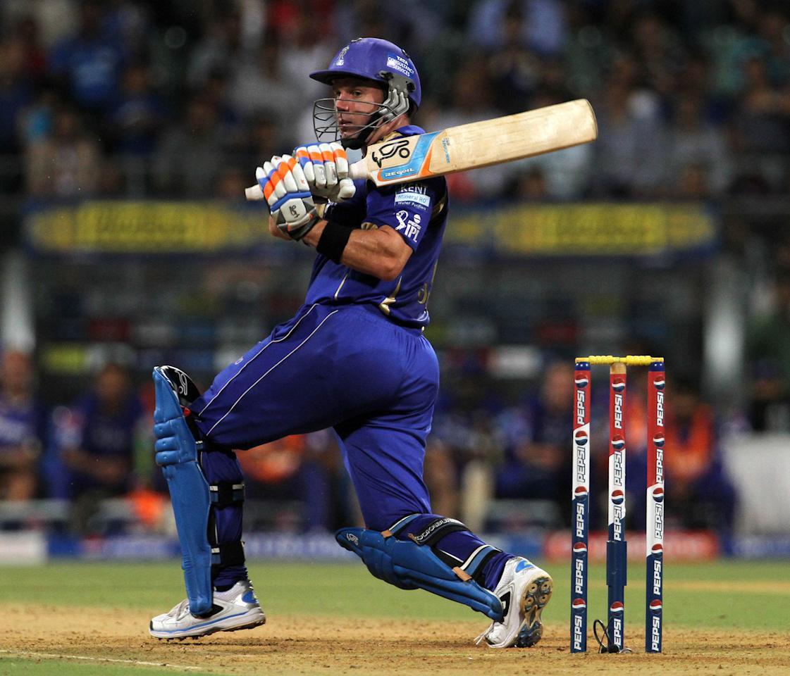 Rajasthan Royals player Brad Hodge plays a shot during match 66 of the Pepsi Indian Premier League ( IPL) 2013  between The Mumbai Indians and the Rajasthan Royals held at the Wankhede Stadium in Mumbai on the 15th May 2013 ..Photo by Vipin Pawar-IPL-SPORTZPICS ..Use of this image is subject to the terms and conditions as outlined by the BCCI. These terms can be found by following this link:..https://ec.yimg.com/ec?url=http%3a%2f%2fwww.sportzpics.co.za%2fimage%2fI0000SoRagM2cIEc&t=1506204750&sig=6n1KufmoKdb3a6.n1J7mUg--~D