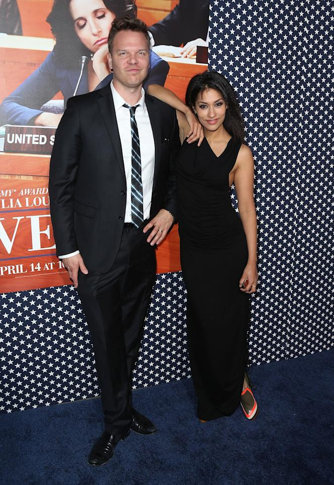"HOLLYWOOD, CA - APRIL 09:  Actors Jim  Parrack (L) and Janina Gavankar attend the premiere of HBO's ""VEEP"" Season 2 at Paramount Studios on April 9, 2013 in Hollywood, California.  (Photo by David Livingston/Getty Images)"