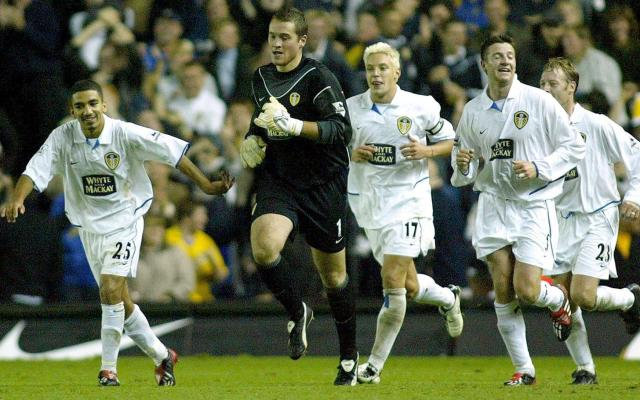 <span>Lennon (left) in action for his hometown club Leeds United in 2003</span> <span>Credit: REUTERS </span>