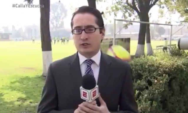 ESPN's Marcelino Fernandez reports from Club America's training ground as a ball whizzes past his shoulder. (Screenshot: Twitter)