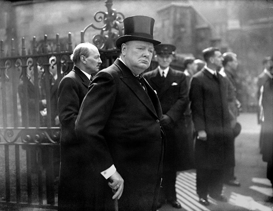 Winston Churchill leaving Westminster Abbey in 1945 (PA) (PA Archive)