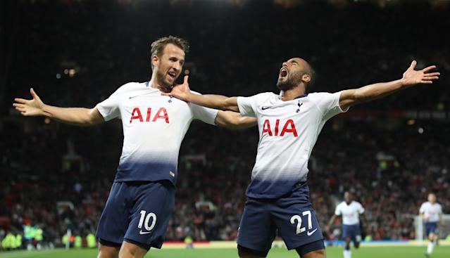 Lucas Moura (right) and Harry Kane celebrate Tottenham's 3-0 win at Old Trafford
