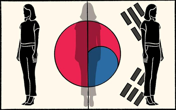 Illustration showing three women and a the Japanese / Korean flag