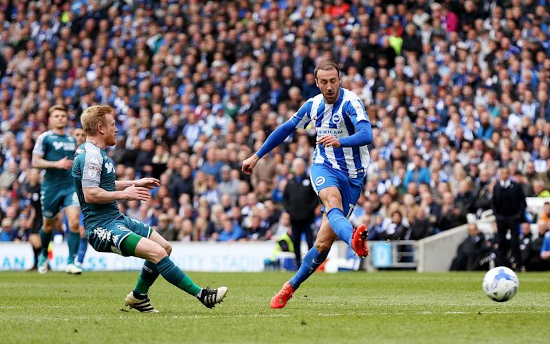 Glenn Murray puts Brighton ahead at the Amex - Credit: rex features