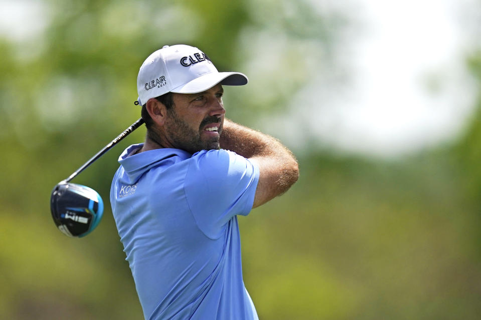 Charl Schwartzel of South Africa hits off the second tee during the third round of the PGA Zurich Classic golf tournament at TPC Louisiana in Avondale, La., Saturday, April 24, 2021. (AP Photo/Gerald Herbert)