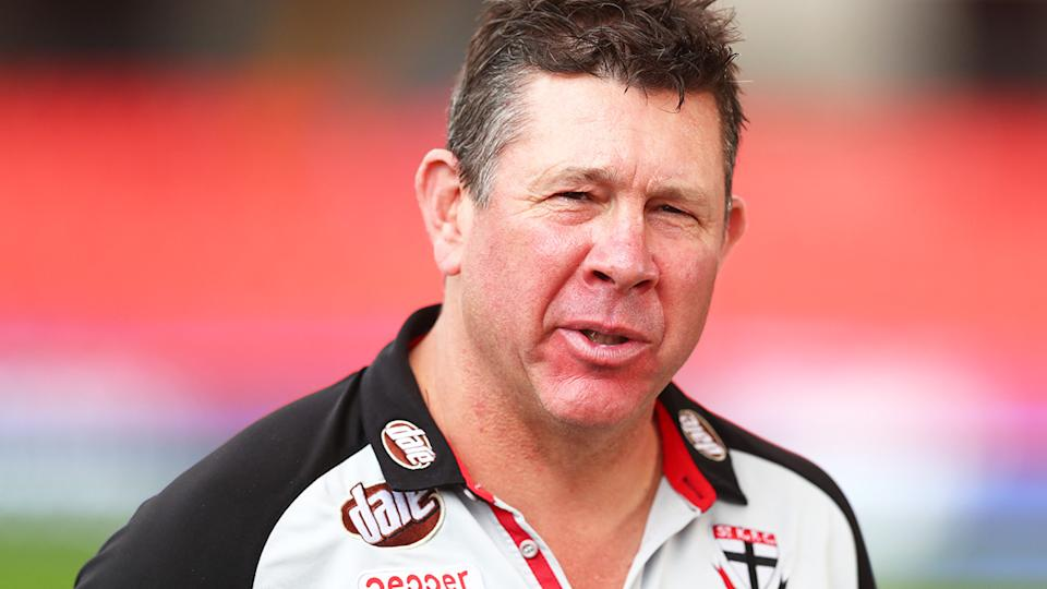 St Kilda coach Brett Ratten was contacted by AFL umpires boss Hayden Kennedy after a massive 48 free kicks were paid in the Saints' win over the Adelaide Crows in Monday. (Photo by Chris Hyde/Getty Images)