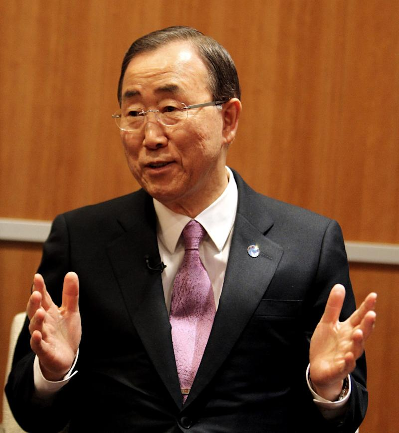 U.N. Secretary-General Ban Ki-moon speaks to a journalist  during an exclusive interview with the Associated Press, in Doha, Qatar,Wednesday, Dec. 5, 2012. Ban has hinted that he would not favor an asylum deal for Syrian President Bashir Assad as a way to end the country's civil war. (AP Photo/Osama Faisal)