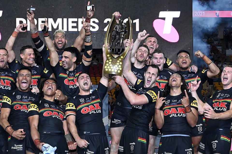Seen here, Panthers players celebrate their NRL grand final win over the Rabbitohs.