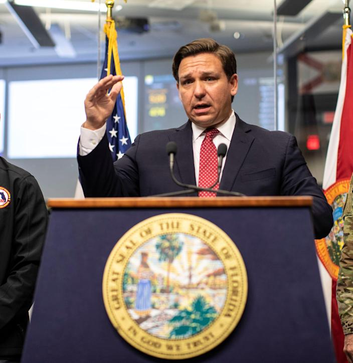 Gov. Ron DeSantis holds a press conference to address the latest updates on how COVID-19 is impacting Florida and what steps his team is taking to prevent the spread of the virus, Friday, March 20, 2020.