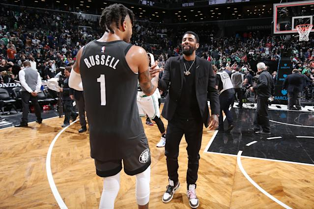 The Nets reportedly hope they can pair Kyrie Irving with D'Angelo Russell. (Photo by Nathaniel S. Butler/NBAE via Getty Images)
