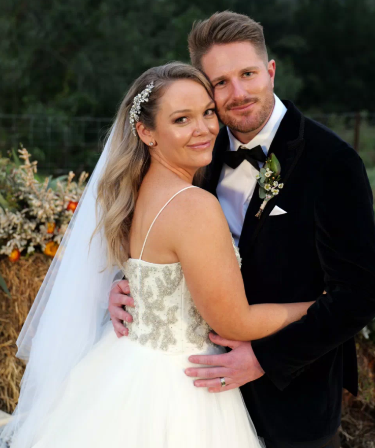 Married At First Sight contestants Bryce Ruthven and Melissa Rawson on their wedding day