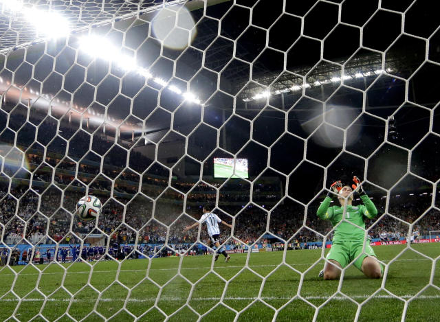 Netherlands' goalkeeper Jasper Cillessen reacts after Argentina's Maxi Rodriguez scored the winning goal during a penalty shootout after extra time during the World Cup semifinal soccer match between the Netherlands and Argentina at the Itaquerao Stadium in Sao Paulo Brazil, Wednesday, July 9, 2014. Argentina defeated the Netherlands 4-2 in a penalty shootout after a 0-0 tie to advance to the finals. (AP Photo/Victor R. Caivano)