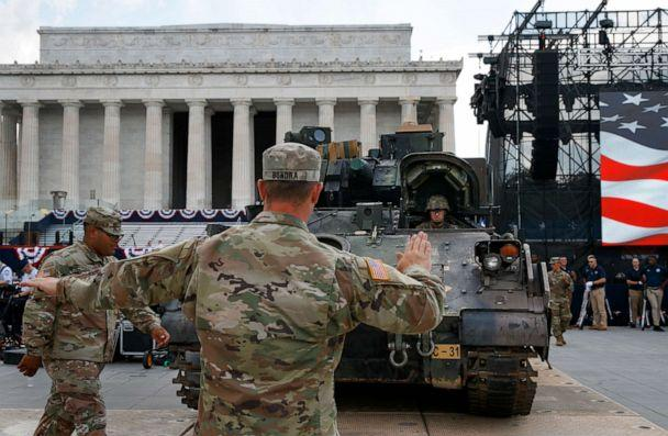 PHOTO: Soldiers with the 3rd Infantry Division, 1st Battalion, 64th Armored Regiment, move a Bradley Fighting Vehicle into place by the Lincoln Memorial, July 3, 2019. (Jacquelyn Martin/AP)
