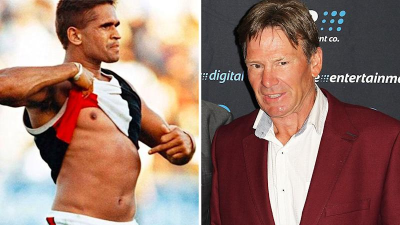 A 50-50 split image shows Nicky Winmar's iconic 1993 pose at Victoria Park on the left, and Sam Newman on the right.