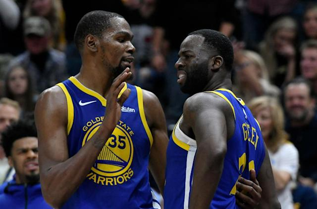 "<a class=""link rapid-noclick-resp"" href=""/nba/teams/gsw"" data-ylk=""slk:Golden State Warriors"">Golden State Warriors</a> teammates <a class=""link rapid-noclick-resp"" href=""/nba/players/4244/"" data-ylk=""slk:Kevin Durant"">Kevin Durant</a> and <a class=""link rapid-noclick-resp"" href=""/nba/players/5069/"" data-ylk=""slk:Draymond Green"">Draymond Green</a> had the biggest beef of the 2018-19 season. (Getty Images)"