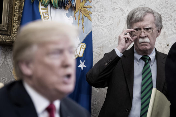 National security adviser John Bolton listens as Trump speaks with NATO Secretary General Jens Stoltenberg during a meeting in the Oval Office on May 17, 2018. (Photo: Jabin Botsford/the Washington Post via Getty Images)