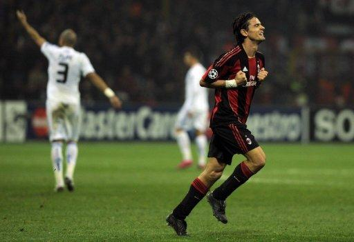 AC Milan's forward Filippo Inzaghi, seen here celebrating scoring a goal against Real Madrid during a Champions League match in 2010, at San Siro stadium in Milan. Inzaghi, Gennaro Gattuso and Alessandro Nesta will end their AC Milan careers against Novara on Sunday as the end of an era is all but completed at the San Siro