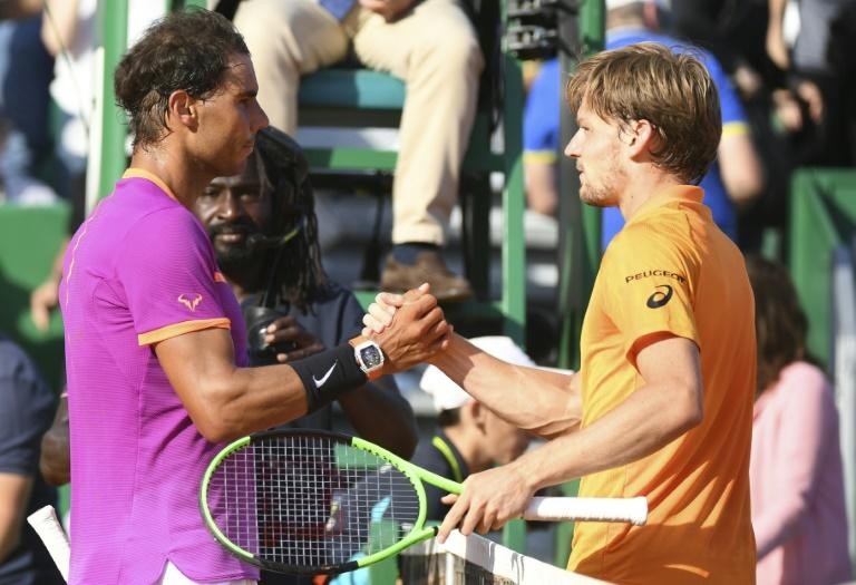 Spain's Rafael Nadal shakes hands with Belgium's David Goffin at the end of the Monte-Carlo ATP Masters Series Tournament tennis match, on April 22, 2017 in Monaco