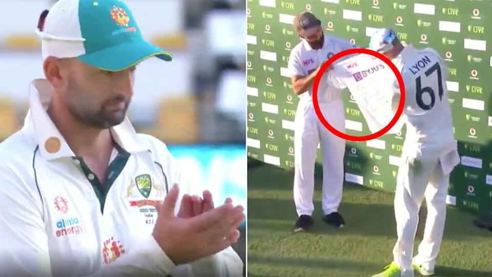 India captain Ajinkya Rahane is seen here presenting Nathan Lyon with a signed jersey for his 100th Test.