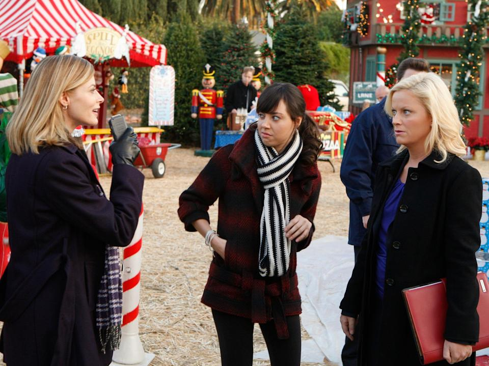 Aubrey Plaza (centre) as the sardonic April Ludgate in Parks and RecreationNBC Universal Inc