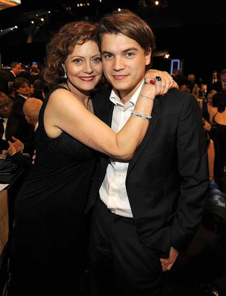 """Susan Sarandon gives her """"Speed Racer"""" son Emile Hersch a motherly hug. Kevin Mazur/<a href=""""http://www.wireimage.com"""" target=""""new"""">WireImage.com</a> - January 25, 2009"""