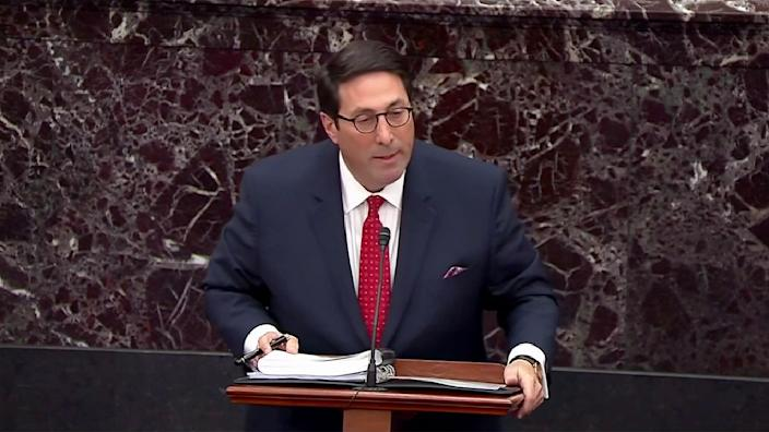 White House counsel Jay Sekulow makes arguments against the removal from office of President Trump during the impeachment trial in the Senate on Jan. 25. (Screengrab: Senate TV via Yahoo News)