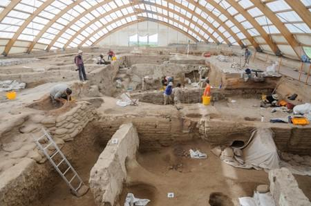 Handout photo of researchers excavating the ruins of Catalhoyuk