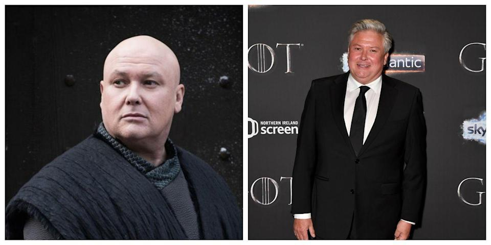 <p>Looking at Conleth Hill, you might think he seems vaguely familiar... and then you'd probably be pretty shocked to find out he plays Lord Varys on <em>Game of Thrones</em>. Varys was reguarly on screen with a completely bald head, black robes, and a very serious expression. Hill, on the other hand, seems more animated (and less plotting) and has much more hair. </p>