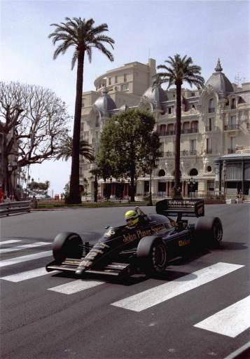 Brazilian driver Ayrton Senna drives his JPS-Lotus Formula One racing car near the Hotel de Paris during the first practice session of the 44th Monaco Grand Prix Thursday, May 8, 1986. Senna made the best time. (AP Photo/Lionel Cironneau)