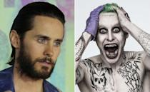 <p>Tatts and teeth made up Leto's look for The Joker. </p>