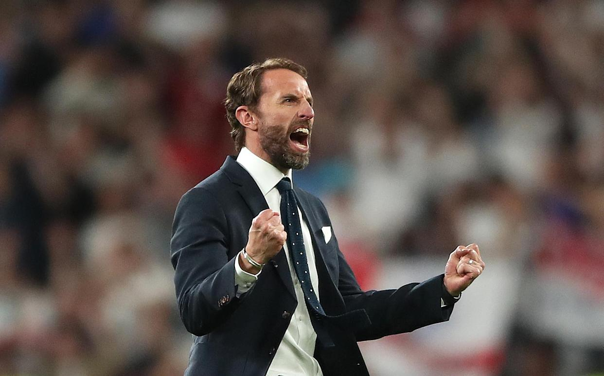 England manager Gareth Southgate celebrates reaching the final after the UEFA Euro 2020 semi final match at Wembley Stadium, London. Picture date: Wednesday July 7, 2021. (Photo by Nick Potts/PA Images via Getty Images)