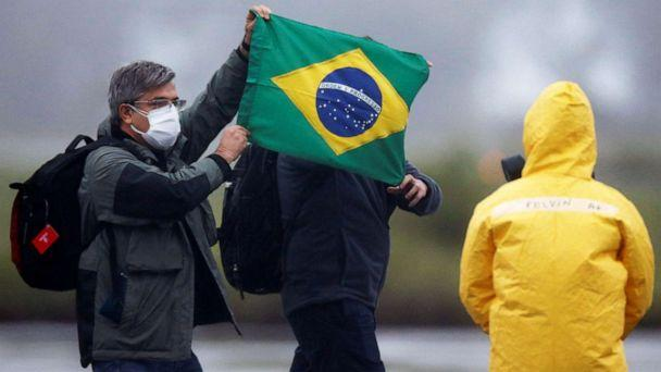 PHOTO: Brazilian citizens from China's coronavirus-struck Wuhan, arrive at the Air Force base of Anapolis, State of Goias, Brazil, Feb. 9, 2020. (Adriano Machado/Reuters, FILE)