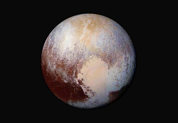 NASA's New Horizons spacecraft captured this stunning false-color image of Pluto on July 14, 2015.