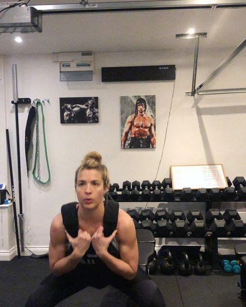 """<p>Working out in a <a href=""""https://www.womenshealthmag.com/uk/gym-wear/g35468087/best-weighted-vests/"""" rel=""""nofollow noopener"""" target=""""_blank"""" data-ylk=""""slk:weighted vest"""" class=""""link rapid-noclick-resp"""">weighted vest</a> adds a serious challenge to a workout. You're carrying extra load and trying to keep good form whilst doing, making <a href=""""https://www.womenshealthmag.com/uk/fitness/strength-training/a36107039/resistance-training/"""" rel=""""nofollow noopener"""" target=""""_blank"""" data-ylk=""""slk:resistance training"""" class=""""link rapid-noclick-resp"""">resistance training</a> and <a href=""""https://www.womenshealthmag.com/uk/fitness/running/g27125112/cardio-home-workouts/"""" rel=""""nofollow noopener"""" target=""""_blank"""" data-ylk=""""slk:cardio workouts"""" class=""""link rapid-noclick-resp"""">cardio workouts</a> that much harder as a result. Gemma loves her weighted vest because it's portable and easy to travel with. We love it because it makes us feeling fairly badass... </p><p><strong>RELATED: </strong>Here's what happened when WH digital fitness writer, Morgan Fargo, tried <a href=""""https://www.womenshealthmag.com/uk/fitness/workouts/a32624350/gemma-atkinson-weighted-vest-workout/"""" rel=""""nofollow noopener"""" target=""""_blank"""" data-ylk=""""slk:Gemma Atkinson's weighted vest workout"""" class=""""link rapid-noclick-resp"""">Gemma Atkinson's weighted vest workout</a></p><p><a href=""""https://www.instagram.com/p/CMRohK3nOuX/"""" rel=""""nofollow noopener"""" target=""""_blank"""" data-ylk=""""slk:See the original post on Instagram"""" class=""""link rapid-noclick-resp"""">See the original post on Instagram</a></p>"""