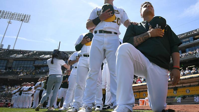 A's Bruce Maxwell will continue kneeling despite threats, racial slurs