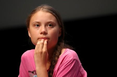 Swedish teenage climate activist Thunberg attends a news conference during the SMILE meeting in Lausanne