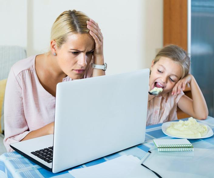 """<span class=""""caption"""">Social media = stress.</span> <span class=""""attribution""""><a class=""""link rapid-noclick-resp"""" href=""""http://www.shutterstock.com/pic-336621674/stock-photo-stressed-woman-working-from-home-little-daughter-asking-for-attention-focus-on-woman.html?src=6P44fhHD2_IJI2n4r8BS3Q-1-5"""" rel=""""nofollow noopener"""" target=""""_blank"""" data-ylk=""""slk:Mother with laptop via www.shutterstock.com."""">Mother with laptop via www.shutterstock.com.</a></span>"""