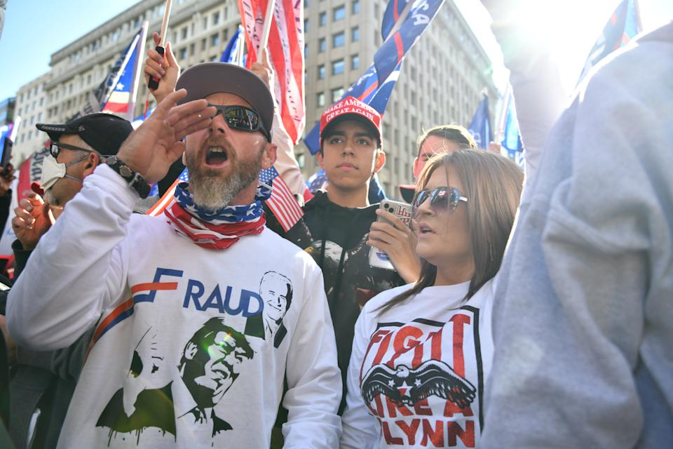 Several hundred thousand white supremacists, q-anon conspiracy theorists, neonazis, and Trump supporters held a march in Washington, DC demanding the overturn of the 2020 election of Joe Biden to the presidency, on Saturday, 14 November 2020. (Photo by B.A. Van Sise/NurPhoto via Getty Images)