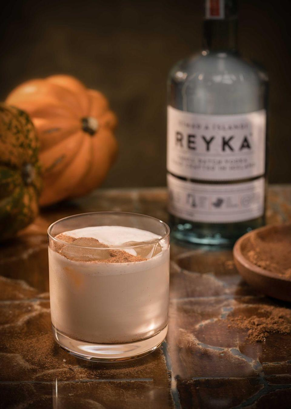 """<p><strong>Ingredients</strong></p><p>2 oz Reyka Vodka<br>1 oz coffee liqueur<br>1 oz heavy cream<br>.5 tsp pumpkin pie spice</p><p><strong>Instructions</strong></p><p>Combine all ingredients in shaker over ice. Shake and serve in a rocks glass.</p><p><strong>More</strong>: <a href=""""https://www.townandcountrymag.com/leisure/drinks/g1547/fall-cocktails/"""" rel=""""nofollow noopener"""" target=""""_blank"""" data-ylk=""""slk:Fall Cocktails to Enjoy This Season"""" class=""""link rapid-noclick-resp"""">Fall Cocktails to Enjoy This Season</a></p>"""