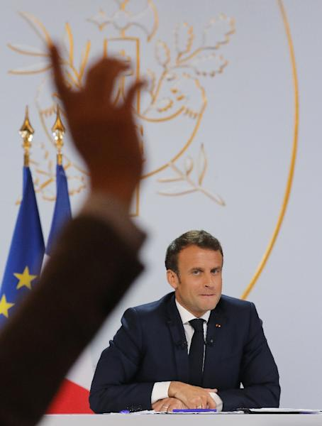 The press conference gave reporters a rare chance to question Macron, who had previously only spoken to media at press conferences during foreign trips or at home with foreign leaders (AFP Photo/ludovic MARIN)