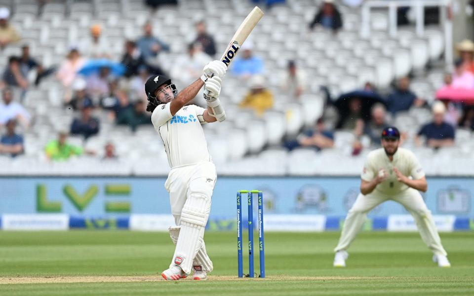 Colin de Grandhomme of New Zealand hits out during Day 5 of the First LV= Insurance Test Match between England and New Zealand at Lord's Cricket Ground on June 06, 2021 in London, England. - GETTY IMAGES
